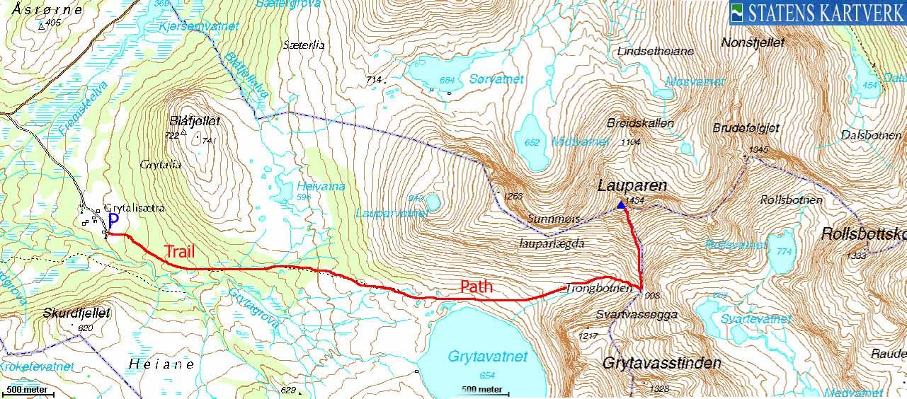 lauparen kart Norwegian Mountains   Route Descriptions   Lauparen lauparen kart